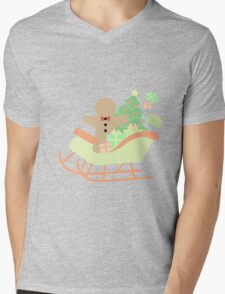 Gingerbread man in Sleigh #1 Mens V-Neck T-Shirt