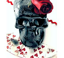 skull n rose Photographic Print
