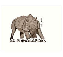 Rhino Ink and Brush Art Print