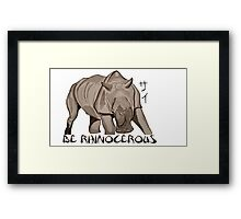 Rhino Ink and Brush Framed Print