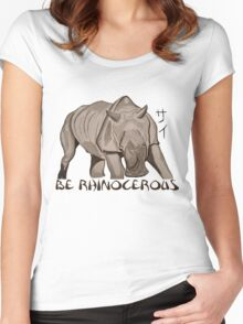 Rhino Ink and Brush Women's Fitted Scoop T-Shirt