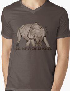 Rhino Ink and Brush Mens V-Neck T-Shirt
