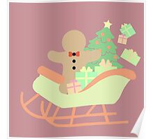 Gingerbread man in Sleigh #3 Poster