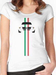 Simplistic Classic Italian coupe with verticle Italian stripes Women's Fitted Scoop T-Shirt