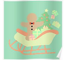 Gingerbread man in Sleigh #4 Poster