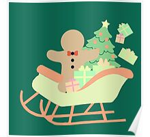 Gingerbread man in Sleigh #5 Poster