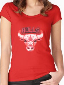 BULLS hand-drawing Women's Fitted Scoop T-Shirt
