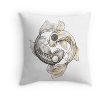 Ying and Yang Koi Throw Pillow