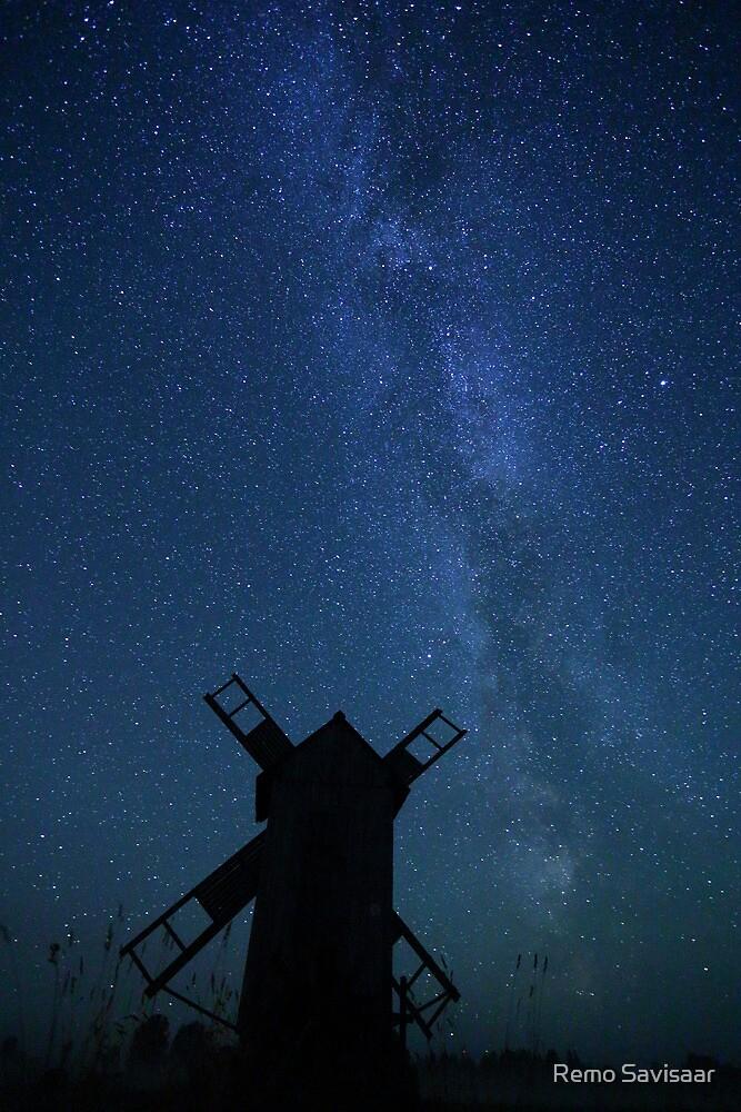 Windmill and Milky Way  by Remo Savisaar