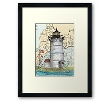 Nobska Pt Lighthouse MA Nautical Chart Cathy Peek Framed Print