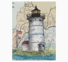 Nobska Pt Lighthouse MA Nautical Chart Cathy Peek One Piece - Short Sleeve
