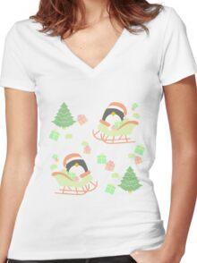Penguin in Sleigh #1 Women's Fitted V-Neck T-Shirt