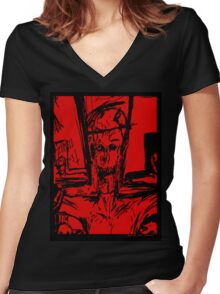 Zombie Christ (In Red) Women's Fitted V-Neck T-Shirt