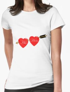 his and her hearts Womens Fitted T-Shirt