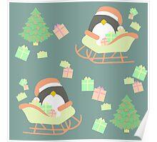 Penguin in Sleigh #4 Poster