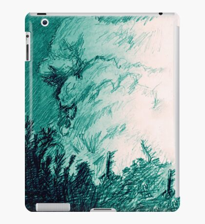 Landscape with clouds, colored pencil iPad Case/Skin