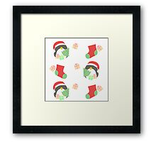 Penguin and Christmas Stockings #1 Framed Print