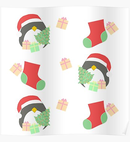 Penguin and Christmas Stockings #1 Poster