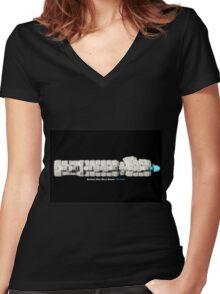 8 Bit Pixel Spaceship Enforcer Class Battle Cruiser - The Thor Women's Fitted V-Neck T-Shirt