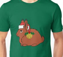 Red Arctic Hare with Santa Hat, Holly & Gold Bell Unisex T-Shirt