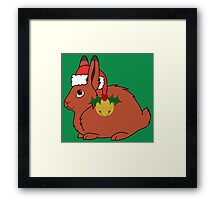 Red Arctic Hare with Santa Hat, Holly & Gold Bell Framed Print