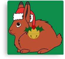 Red Arctic Hare with Santa Hat, Holly & Gold Bell Canvas Print