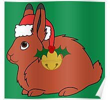 Red Arctic Hare with Santa Hat, Holly & Gold Bell Poster