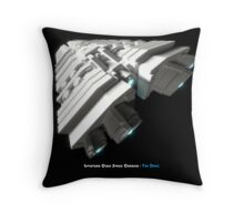 8 Bit Pixel Spaceship Leviathan Class Space Carrier - The Duke Throw Pillow
