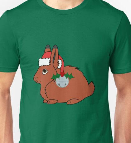 Red Arctic Hare with Santa Hat, Holly & Silver Bell Unisex T-Shirt