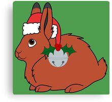 Red Arctic Hare with Santa Hat, Holly & Silver Bell Canvas Print