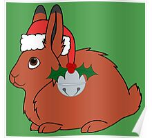 Red Arctic Hare with Santa Hat, Holly & Silver Bell Poster