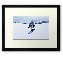 Snowboarding Cat Framed Print