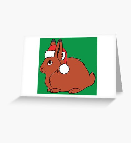 Red Arctic Hare with Christmas Red Santa Hat Greeting Card