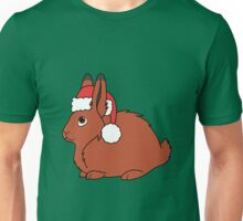Red Arctic Hare with Christmas Red Santa Hat Unisex T-Shirt