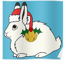 White Arctic Hare with Santa Hat, Holly & Gold Bell Poster