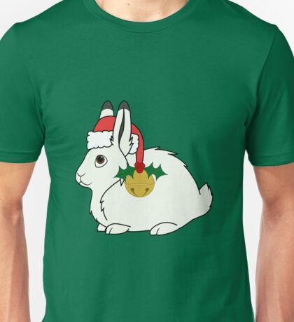 White Arctic Hare with Santa Hat, Holly & Gold Bell Unisex T-Shirt
