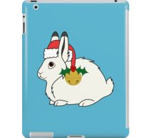 White Arctic Hare with Santa Hat, Holly & Gold Bell iPad Case/Skin