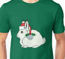 White Arctic Hare with Santa Hat, Holly & Silver Bell Unisex T-Shirt