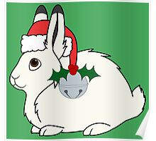 White Arctic Hare with Santa Hat, Holly & Silver Bell Poster