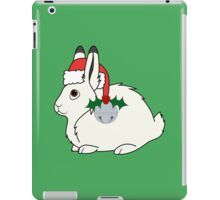 White Arctic Hare with Santa Hat, Holly & Silver Bell iPad Case/Skin