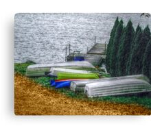 Six Boats In A Row  Canvas Print