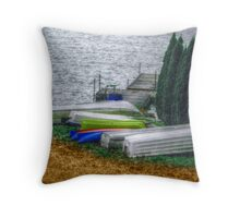 Six Boats In A Row  Throw Pillow