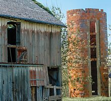 Old Wooden Barn and Brick Silo by bengraham