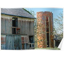 Old Wooden Barn and Brick Silo Poster