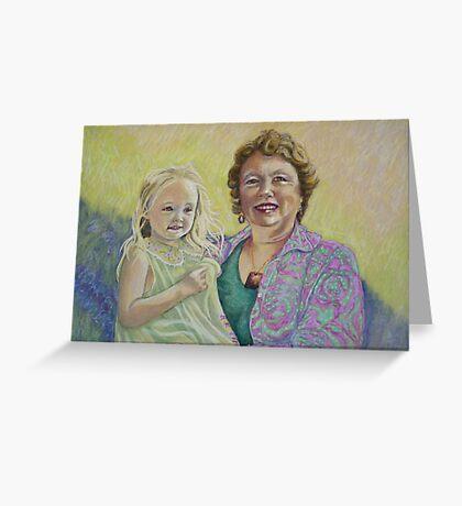 Zara and Dianne Pastel Portrait Greeting Card