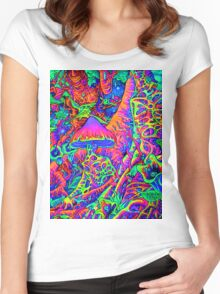 BLACKLIGHT NEON MOTHER NATURE SHROOM GARDEN Women's Fitted Scoop T-Shirt