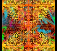 TRIBAL GEOMETRIC SHAPES TRIP ORANGE YELLOW PINK BLUE GREEN NEON by SourKid