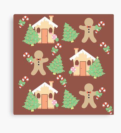 Gingerbread man & gingerbread house #3 Canvas Print
