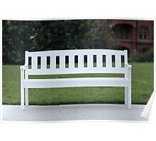 White wooden bench Poster