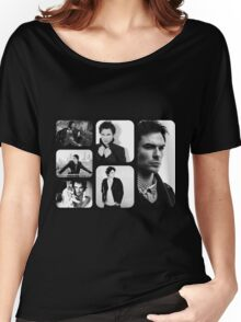 Ian Somerhalder in Black and White Women's Relaxed Fit T-Shirt